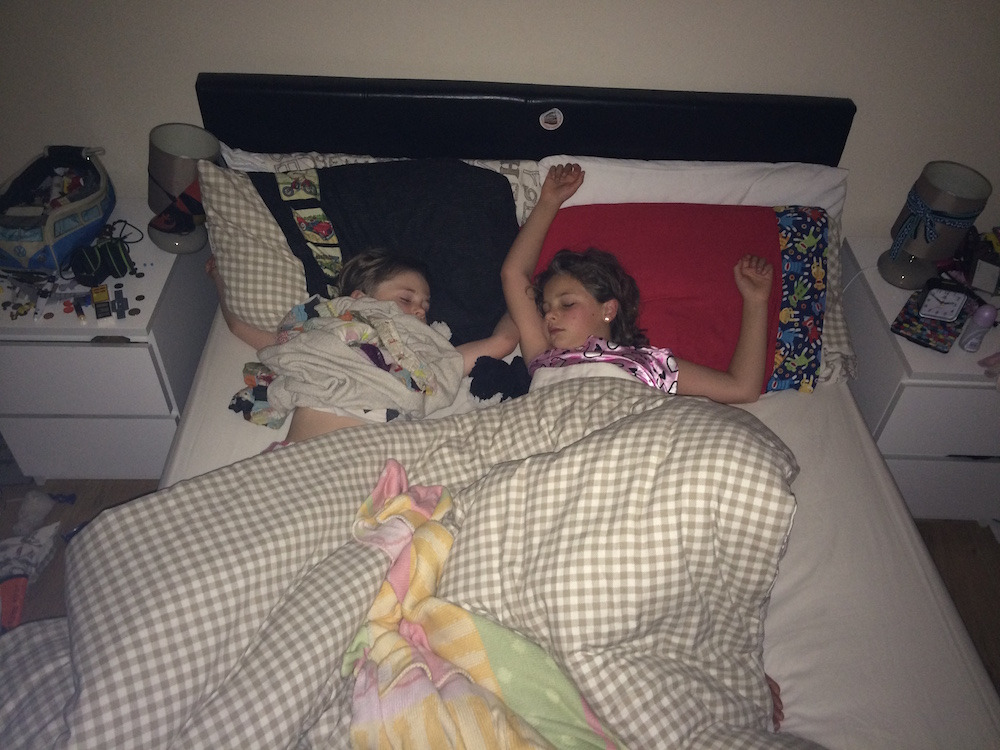 This is how they sleep 99% of the time, since they have to share a bed.